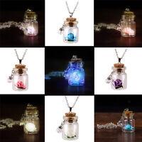 Lady Magic Glowing Flower Glow In Dark Wishing Bottle Necklace Luminous Pendant