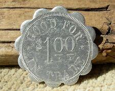 1900s ALCESTER, SOUTH DAKOTA SD (TINY UNION CO) HUGHES & MITCHELL $1.00 VA TOKEN