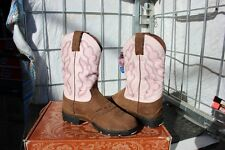 39-19 New Justin WOMENS 6C Bay Apache Pink Cowhide western boots was 199.00