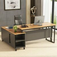 "Contemporary Executive L Shape Office Desk with Pedestal Upgrade 55"" Dark Walnut"