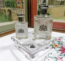 "2 RALPH LAUREN SAFARI FOR MEN 5 1/2"" & 4 1/4"" CRYSTAL BOTTLES WITH SEAL ON FRONT"