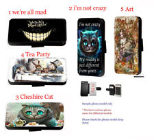 Alice In Wonderland Hatter Cat Leather Phone Case for Samsung iPhone HTC Xperia