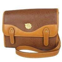 Auth NINA RICCI Logos Leaf Pattern Leather Shoulder Bag F/S 14876b