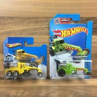 2 x Hot Wheels Street Cleaver Yellow 49/250 & Green 10/250 HW City 2013 Vehicles
