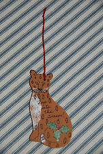 Hand Painted Leap Into the Seaon Leopard Christmas Tree Ornament -- Holidays