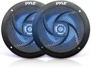 """Marine Speakers 5.25"""" 2 Way Outdoor Audio Stereo Sound System LED Lights 1 Pair"""