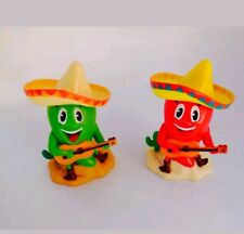 Solar Powered Dancing Cowboy Green Red Chili Guitar Player Mexican Chili Nwt 2Pc