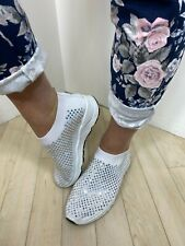 Womens Crystal Trainers White Silver Slip On Sock Sneaker BLING Memory Foam NEW