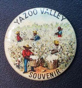Yazoo Valley Mississippi Cotton Picking Black Americana Pinback Button ORIGINAL