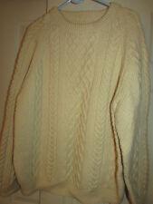Vtg Ivory Cable Knit Wool Sweater M - L  Irish Fisherman Chunky Cream Off White