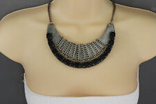 New Women Antique Silver Necklace Metal Chain Black Bead Fashion Jewelry Vintage
