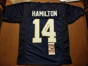 Kyle Hamilton Signed Autographed Blue  #14 Jersey Notre Dame Irish JSA Witness