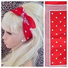 Rojo blanco lunares Raya Imprimir Bandana Bufanda de cuello de pelo Head Band Estilo Retro