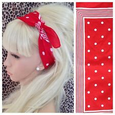 RED WHITE POLKA DOT STRIPE PRINT BANDANA HEAD BAND HAIR NECK SCARF RETRO STYLE