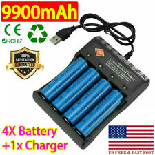 4X 18650Battery 3.7V Li-ion Rechargeable Batteries For LED Torch + USB Charger