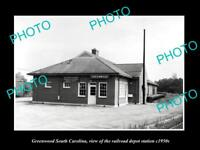 OLD HISTORIC PHOTO OF GREENWOOD SOUTH CAROLINA, RAILROAD DEPOT STATION c1950s