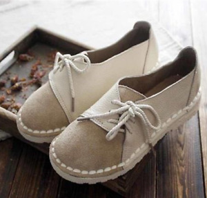 Womens Casual Flats Lace Up Round Toe Loafer Brogue Comfort Boat Shoe Spring NEW