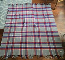 Vintage Plaid Wool Blanket Throw Made In England Gray Red Blue Fringed