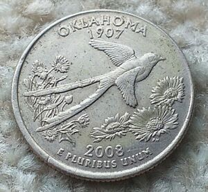 Quarter Dollar 2008P USA Oklahoma State Coin  By coin_lovers