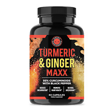 Angry Supplements Turmeric & Ginger Maxx Capsules w. Black Pepper, Joint Support