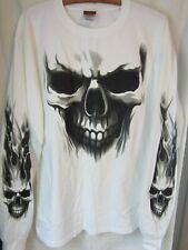 Skull ~ Men's Long Sleeve T-Shirt  ~ Sz L ~ White ~ New ~ Never Worn
