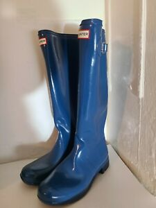NEW Hunter Original Glossy Blue Tall Rain Boots US Women's 8