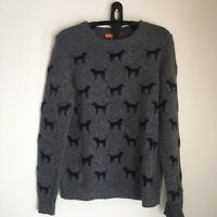 Women's Joe Fresh Dog Print Wool Blend Pullover Sweater Grey/Blue Size M