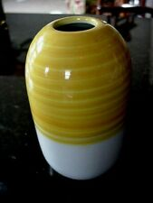 "New IKEA KNAPRIG  STONEWARE ~BEEHIVE~ 5 3/4"" Yellow & White Flower VASE #21880"