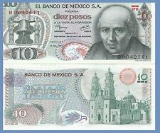 Mexico P63i, 10 Pesos,  Miguel Hidalgo y Costilla / cathedral UNC 1977