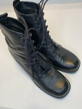 Markon Marco Women's Sz 7 Black Lace Up Leather Mid-Calf Boots