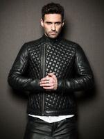 Mens Lambskin Leather Jacket Motorcycle Genuine Black Biker Slim Fit Jacket Coat