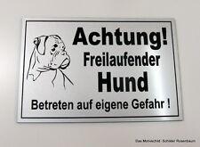 Achtung,Freilaufender,Hund,Boxer,12 x 8 cm,Gravur,Schild,Hundeschild,Türschild