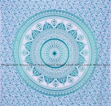 Indian green ombre mandala cotton wall hanging tapestry bohemian king bedspread