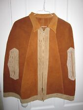 Vtg 60s 70s Western look brown suede zip front short cape, no maker tag