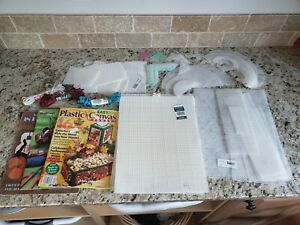 Assorted Plastic Canvas Lot Yarn Perforated Mesh Shapes Pattern Magazine Leaflet
