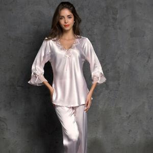 Women Silk Satin Pajamas Set Pyjama Sleepwear Nightwear Loungewear Home Suit Pjs