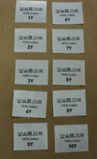 50 printed clothing garment labels CHILDRENS various sizes