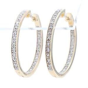 Sterling Diamond Inside-Out Hoop Earrings -925 Gold Plated Single .10ctw Pierced