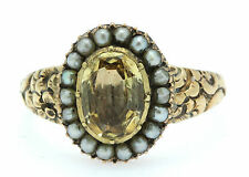 A Magnificent 2ct Golden Topaz & Seed Pearl Cluster Ring Circa 1800's