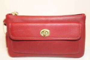 Coach Womens Red Leather Zip Top Wristlet Clutch Wallet