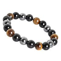 Obsidian Tiger Eye Hematite Bracelet Triple Protection Stone Stretch Jewelry US