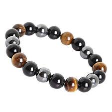 Obsidian Tiger Eye Hematite Bracelet Triple Protection Stone Stretch Jewelry US