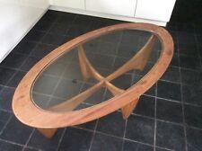 Vintage Original G Plan Oval Coffee Table  Glass & Teak