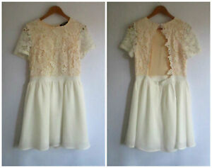 Missguided sz 14 Cream Lace Top Open Back Dress