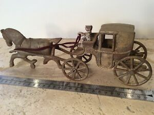 Vintage Cast Iron Horse & Buggy with Driver Rare