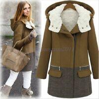 NEW Winter Warm Womens Wool long jacket Fur lined Slim Hooded outwear coat