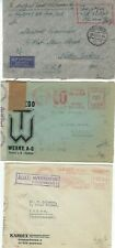 Three Germany WWII Censored  Covers to US and Greece Two Slogan Meters