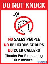 DO NOT KNOCK NO SALES PEOPLE NO RELIGIOUS GROUPS - VINYL STICKER - VARIOUS SIZES