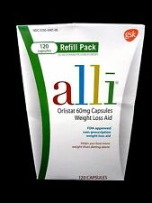 ~*~ALLI-Orlistat 60 mg~120 Count (Refill) NEW IN SEALED BOX ~*~EXP 2019