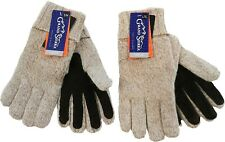 Grand Sierra Men's Ragg Wool Insulated Winter Weather Gloves, Brown Suede Palm